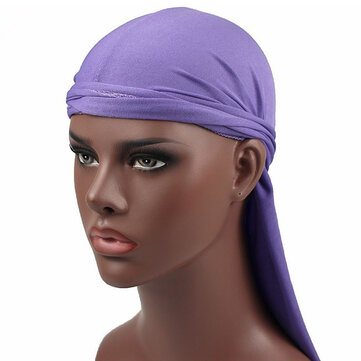 Men Women Sweat-absorbent Hip-hop Stretch Rap Hat Street Dance Milk Silk Long Tail Cap