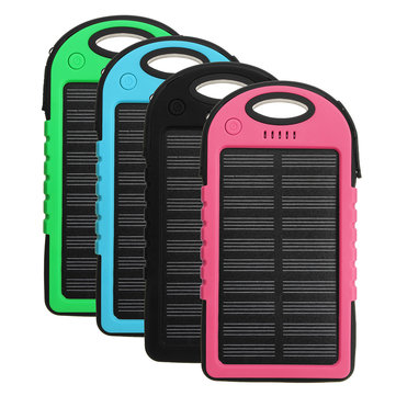 4000mAh Solar LED Portable Dual USB Power Bank External Battery Charger Box Case