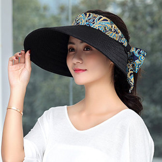 Women Summer Wide Brim Travel Beach Sunshade Visor Hat