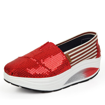Paillette Bling Shiny Platform Slip On Stripe Rocker Sole Shoes