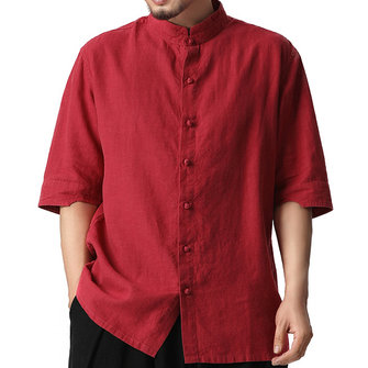 TWO-SIDED Comfy Cotton Vintage Chinese Buttons Plus Size L-5XL Loose Thin Shirts for Men