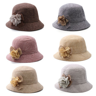 Women Girls Straw Linen Floral Fedora Hat Fishing Outdoor Sunshade Trilby Jazz Cap
