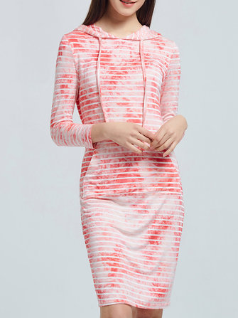 Casual Women Tie-Dyed Striped Long Sleeve Pockets Hooded Dresses