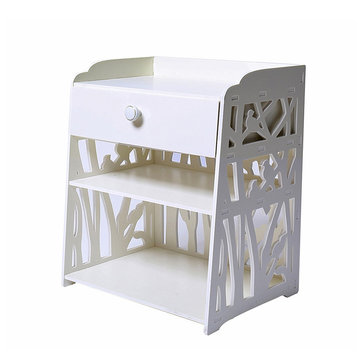 White Carved Bedside Table Drawer Hallway Decor Shelving Rack Storage Organizer Storage Baskets