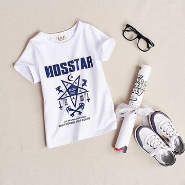 Kids Boys Letters Printed Short Sleeve Cotton T-shirts