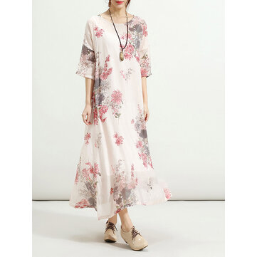 2pcs Floral Printed Swing Dress