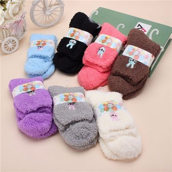 Women Cute Thick Fuzzy Animal Short Ankle Socks Hosiery Candy Colors Cartoon Sock