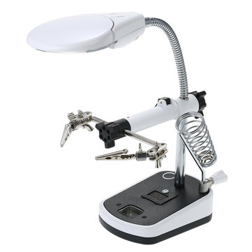 90mm Diameter Magnifier With LED Light Magnifier Soldering Helping Hand Auxiliary Clamp Alligator Clip Stand Magnifying Glass