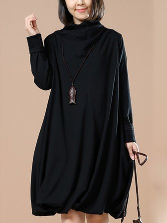 O-NEWE L-5XL Casual Women Loose Turtleneck A-Line Dress