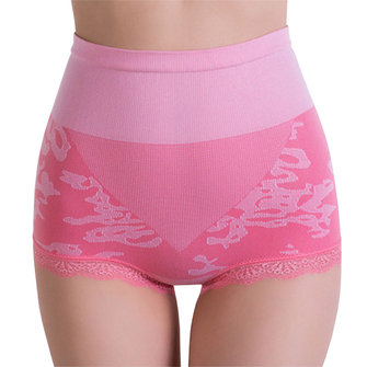 Cozy Elastic Jacquard Panties High Waist Shaping Hips Up Breathable Underwear For Women