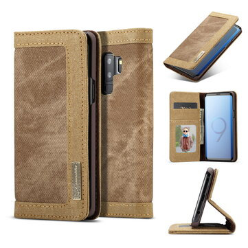Caseme Canvas Magnetic Flip Bracket Wallet Protective Case For Samsung Galaxy S9 Plus