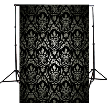 3x5FT Retro Black Damask Wall Photography Backdrop Studio Photo Background Props