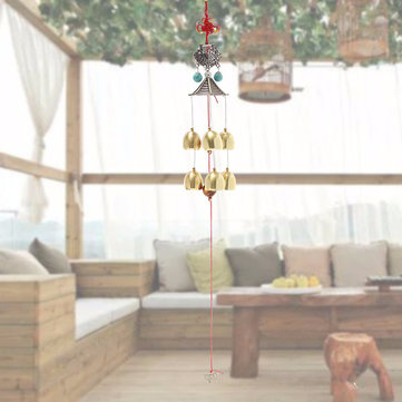 Lucky Butterfly 6 Windbells Ethnic Copper Wind Chimes Outdoor Yard Garden Decor Gift