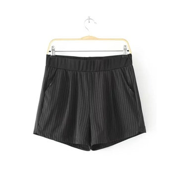 Casual Loose Women Stripe Elastic Waist High Stretch Shorts