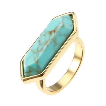JASSY® Hexagonal Turquoise Ring 18K Gold Plated Geometric New Fashion Women Fine Jewelry