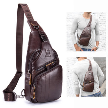 Bullcaptain Genuine Leather Retro Chest Bag Outdoor Leisure Daypack Crossbody Bag for Men