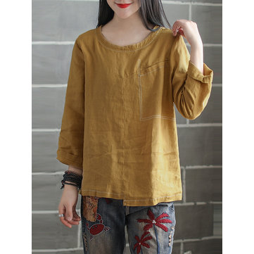 Women Vintage Crew Neck Tops Loose Irregular Splice Blouse