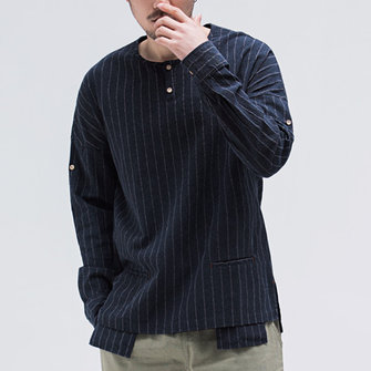 Mens Vintage Stripe Crew Neck Long Sleeve Cotton Shirts Tops
