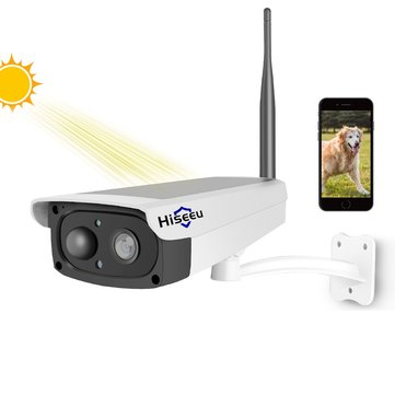 Hiseeu Video Surveillance Camera Solar Panel Rechargeable Battery 1080P WiFi IP Camera Wide View