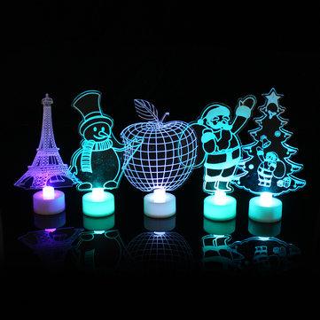 Santa Claus Multi Color LED Light Clear Acrylic Christmas Tree Mood Lamp Christmas Decoration Toys
