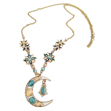 Bohemian Sun Moon Pendant Opal Charm Necklace Rhinestone Crystal Stellar Gold Necklaces for Women