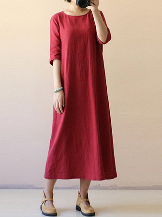 Kvinna Vintage Half Sleeve O-Neck Loose Maxi Dress