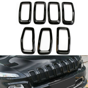 ABS Black Front Grille Decorate Trim Ring Insert Cover Kit For Jeep Cherokee 2014-2016