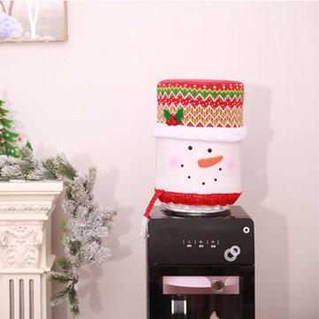 Christmas Water Dispenser Bucket Cover Barrel Dust Santa Claus Skin Home Decorations