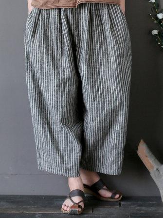 Vintage Women Stripe Pockets Loose Cotton Pants