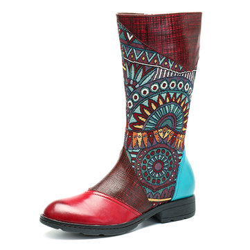 SOCOFY Women Retro Splicing Pattern Flat Mid-calf Leather Boots