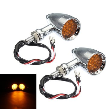 Motorcycle Bullet LED Turn Signal Indicator Lights Chrome Edge Cut Universal
