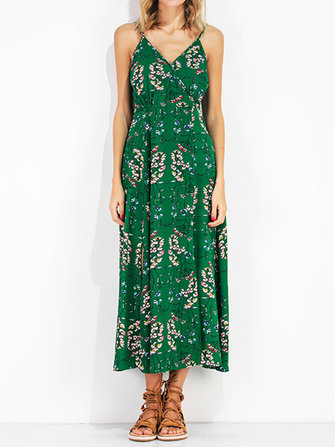 Boho Floral Print Spaghetti Strap V-neck Backless Women Maxi Dresses
