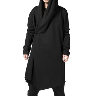 ChArmkpR Mens Casual Hoodies Mid-long Solid Color Cotton Loose Irregular Hooded Coats