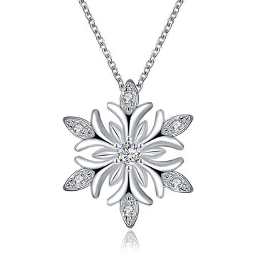 INALIS Women's Rose Gold Platinum Plated Snowflake Zircon Necklace Christmas Gift