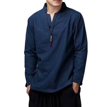 ChArmkpR Chinese Style Mens Loose Cotton Linen Long Sleeve Tops Stand Collar T-Shirts