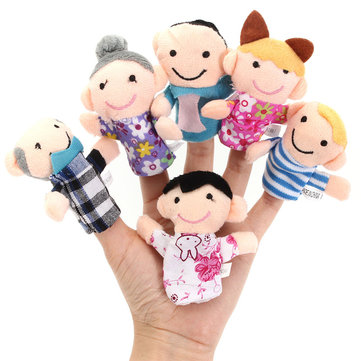 Set of 6 Family Member Finger Doll Puppet Soft Stuffed Plush Toy Play Story Boys Girls Party Favor