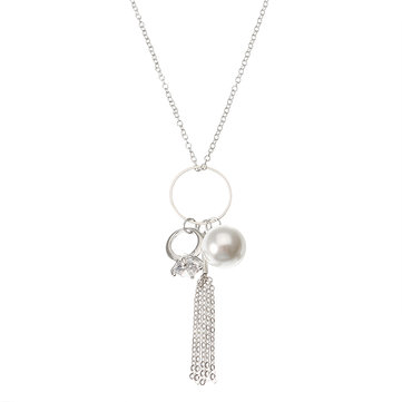 Elegant Women Necklace Silver Plated Artificial Pearl Tassel Pendant Long Necklace Gift for Girl
