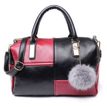 Women Retro Botson Bags Casual Contrast Color Shoulder Bags