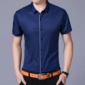 Summer Business Office Slim Fit Button up Dress Shirts