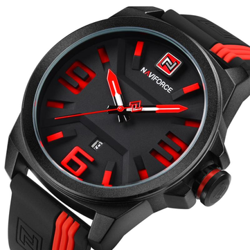NAVIFORCE NF9098 Casual Man Quartz Watch 3D Dial Silcone Strap Sport Watch