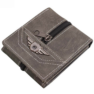 Men Retro Canvas Punk Zipper Three Fold Card Holders Money Bag Wallet