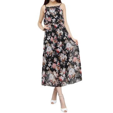 Sexy Women Strap Backless Floral High Waist Chiffon Maxi Dress