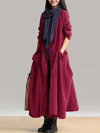 Pockets Lace-up Long Outerwear
