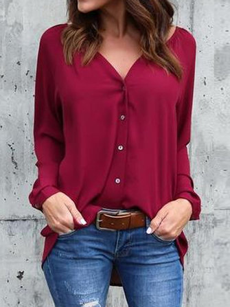 Women Buttons V-neck Loose Casual Chiffon Blouse