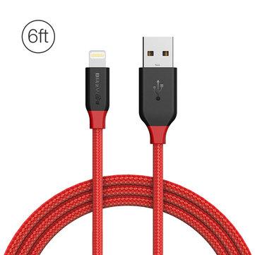 BlitzWolf® Ampcore BW-MF8 2.4A Шнурованный плетеный кабель для зарядки и передачи данных с молнией 6 футов / 1,8 м для iPhone 8 Plus X 7 Plus