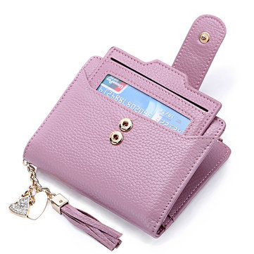 شرابة جلد طبيعي متعددة فتحات محفظة صغيرة حامل بطاقة محفظة للنساء