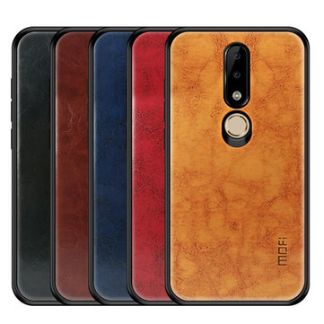 Mofi Shockproof PU Leather Pattern Soft TPU Back Cover Protective Case for Nokia X6 6.1 Plus