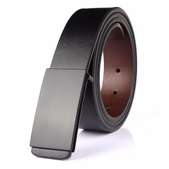 Men Black Belt Casual Faux Leather Smooth Buckle Waist Strap Belt