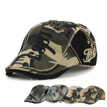 Unisex Cotton Camouflage Beret หมวกหัวเข็มขัดเด็กกระดาษปรับได้ ทหาร หมวก Cabbie Golf Gentleman Cap