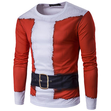 3D Santa Costume Printed T-shirt Christmas Men's Casual Round Neck Long Sleeve T-shirt